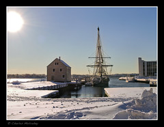 Another Friendship Shot (Camerist Obscured) Tags: winter sun snow friendship massachusetts northshore salem tallship derbywharf eastindiaman olympuse420