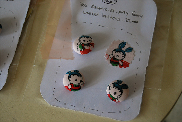 (rabbits-at-play) fabric buttons