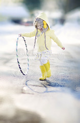 ready for spring (Heidi Hope) Tags: shadow 2 two texture girl yellow spring boots running hulahoop twoyearsold