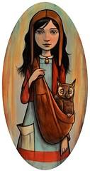 """Owl Carrier"" (verpabunny) Tags: original painting artwork acrylic oval thinkspace kellyvivanco february2011 springstomind"
