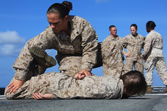 Female Marines Demonstrate Take Down and Restraint (United States Marine Corps Official Page) Tags: usmc training military meu marines lioness marinecorps deployment unitedstatesmarinecorps combattraining unitedstatesmarines marinephotos 5thfleetareaofresponsibility ussponce detaineetraining marinepictures femaleengagementteam marinespictures marinesphotos
