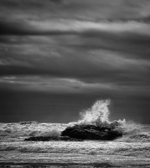 [フリー画像] 自然・風景, 海, 波, モノクロ写真, アメリカ合衆国, 201102121900