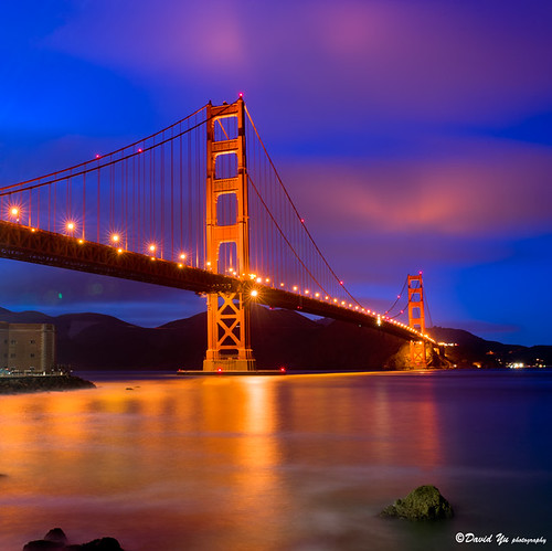 San Francisco Golden Gate Bridge twilight blue moment with red clouds