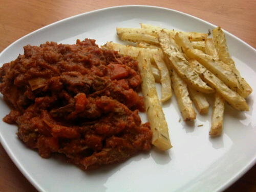 Beef stew and celeriac fries