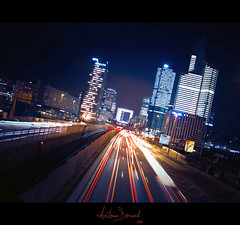 Town (Antonin Douard) Tags: road street new york sky chicago paris building car night skyscraper de lights la voiture company route ciel pont headlight rue nuit lumires neuilly batiment dfense gratte frein entreprise
