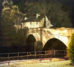 The Dropping Well Inn (vesna1962) Tags: park bridge winter england sunlight texture river landscape pub inn scenery abbeyroad benches knaresborough northyorkshire attraction publichouse mothershipton rivernidd mothershiptonscave tatot magicunicornverybest selectbestfavorites magicunicornmasterpiece