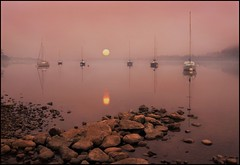Visions of Ullswater (adrians_art) Tags: trees mist water fog sunrise reflections boats dawn early rocks sailing horizon transport lakedistrict craft cumbria yachts masts bouys moorings moored pooleybridge lakeullswater