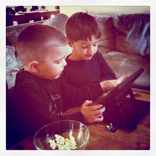 A playdate ends with iPad playing....ohhh those Angry Birds pull everyone in.