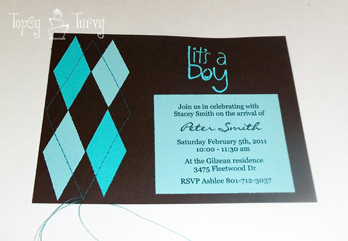 argyle baby shower invitation sewn lines