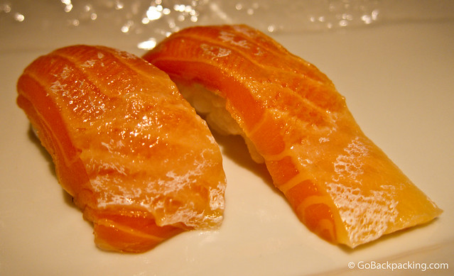 Sumptuous salmon belly nigiri
