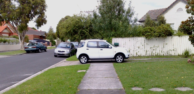 Car blocking footpath