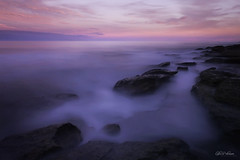 """Waiting"" (Luke Peterson Photography) Tags: longexposure blue sunset water dark rocks purple dusk horizon fluffy colourful smoky cronulla"