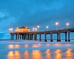 Storm Watch at Manhattan Beach Pier (mikepmiller) Tags: ocean ca sunset storm beach rain clouds pier pacific manhattanbeach hdr stormwatch d90 photomatix freezingmyassoff