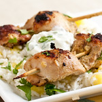 Chicken Satay with Yogurt-Cucumber Dipping Sauce