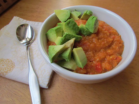 Spicy Red Lentil Chili with Avocado
