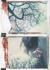 Under the Cherry Tree (emilie79*) Tags: selfportrait back diptych cherrytree polaroid180 iduvfilm