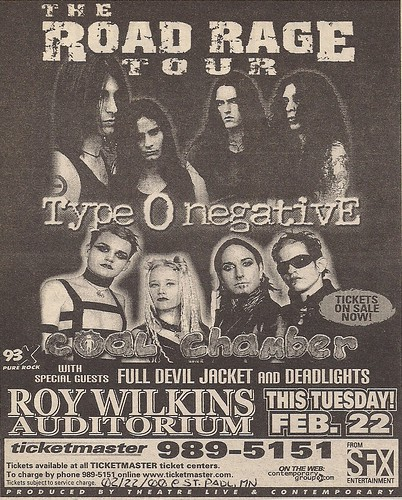 02/22/00 Type O Negative/Coal Chamber/Full Devil Jacket/Deadlights @ Roy Wilkins Auditorium, St. Paul, MN