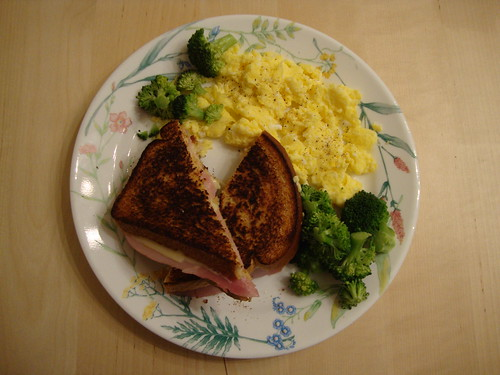 grilled cheese & ham on wheat with scrambled eggs and broccoli
