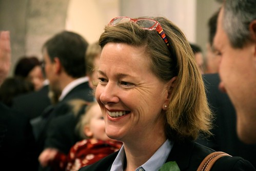 A photo of Justice Minister Alison Redford at the 2011 Alberta budget announcement in Edmonton, Alberta, Canada