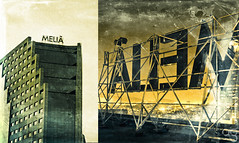OPUESTOS (Stromboly) Tags: leica blue building texture yellow metal mxico night canon vintage mexico hotel mexicocity day centro retro anuncio panasonic type melia g12 glorieta lomofaux lx5 opuesto