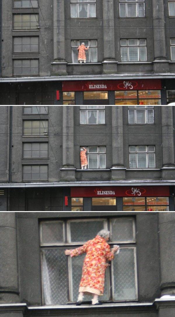 Crazy Women Cleaning Window