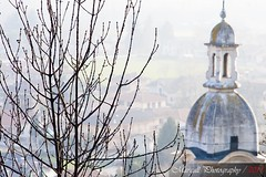 The church of Caraglio - Cuneo - Italy - Pentacon  135mm f 2,8 M42 (Margall photography) Tags: city winter italy mist tree church canon photography italia cityscape chiesa f m42 marco 28 pentacon cuneo citta 135mm 30d galletto margall caraglio