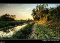 Summer Evening on the Royal Canal (bbusschots) Tags: ireland reflection train evening canal diesel dusk rail railway railcar maynooth hdr pathway irishrail towpath trainset topaz kildare dmu photomatix tonemapped kilcock tthdr iarnrdireann topazadjust dmu4 class29000 classie29000