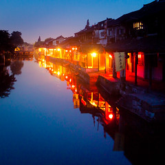 Tranquility (tianxiaozhang) Tags: china longexposure blue summer reflection night river square xitang tranquil zhejiang 17mm ef1740l eos450d