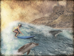 Surfs With Dolphins (rjg329) Tags: ocean shoreline surfing cliffs dolphins surfboard textured wavesbreaking littlesurfergirl texturesonly~competition134