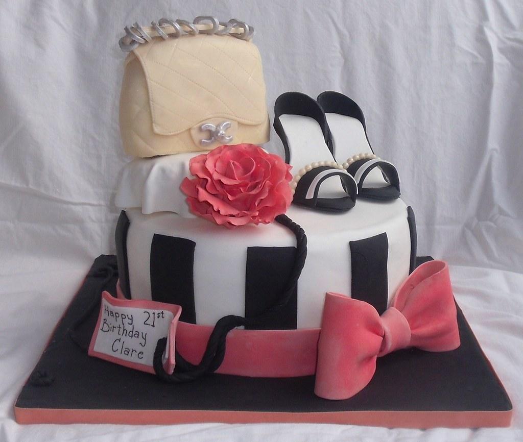 Purse Shoe Chanel Rose Bow Black White Fashion Cake Top