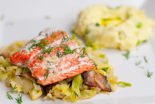Roasted salmon with bacon & cabbage, and champ