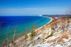 """Michigan's Caribbean""    Empire Bluff - Sleeping Bear Dunes National Lakeshore - Empire, Michigan (Michigan Nut) Tags: blue usa snow green beach geotagged photography spring michigan lakemichigan coastline recent beautifulbeach sanddunes birchtree southmanitouisland aquablue sleepingbeardunesnationallakeshore benziecounty empirebluff michigannutphotography nikon1635mmf4gedafsvrwideanglezoomlens michiganscarribean"