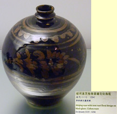 8000 (H Sinica) Tags: china museum hongkong museumofart ceramics antique pot vase pottery  archeology  porcelain tsimshatsui earthenware     jindynasty cizhou   cizhouware blackglaze  meiping
