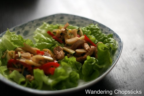 Chinese Lettuce Wraps with Chicken, Water Chestnuts, and Bell Peppers 9