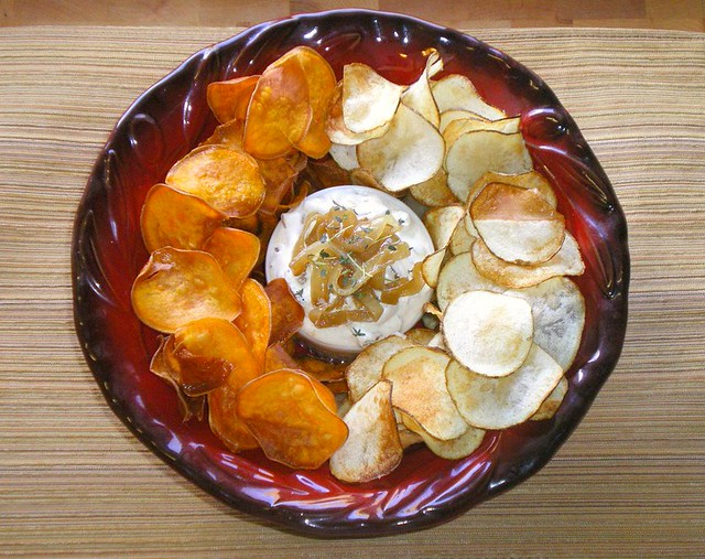 Two Kinds of Chips with Caramelized Onion Dip