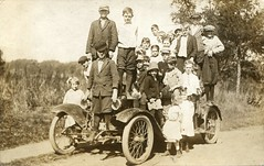 How many kids can you fit on a vintage automobile? (c.1910) (pellethepoet) Tags: road girls boys car kids children automobile postcard photograph rppc realphotopostcard