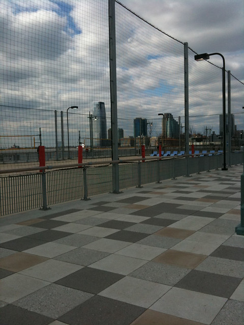 a new pier opened up with beach volleyball courts