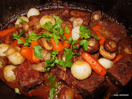 beef in red wine sauce, Jacques Pepin's