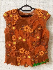 Hot_vest (antonina.kuznetsova) Tags: brown flower wool motif lace top crochet multicoloured ukraine clothes vest freeform irishcrochet kherson crochetlace lacefreeform antoninakuznetsova
