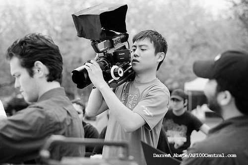 "Yuta sets up a shot with the AF100 on the set of ""Lilia"""