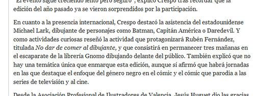 110303 El País - Mostra Cómic reúne a 40 autores con Roca y Larroca a la cabeza (detalle)