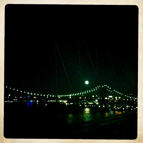 Moonrise, East River, view of the Manhattan Bridge, evening, March 19