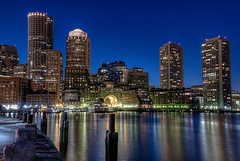 Boston from the Moakley Courthouse (nikonjim) Tags: water boston skyline night district explore courthouse financial hdr moakley d300 2470mmf28 explored 5exp nikonjim