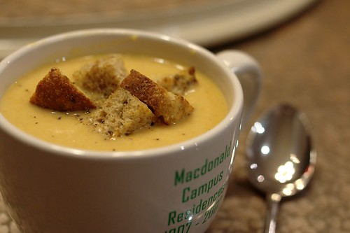 Parsnip, Carrot and Asian Pear Soup with Garlic Rosemary Croutons