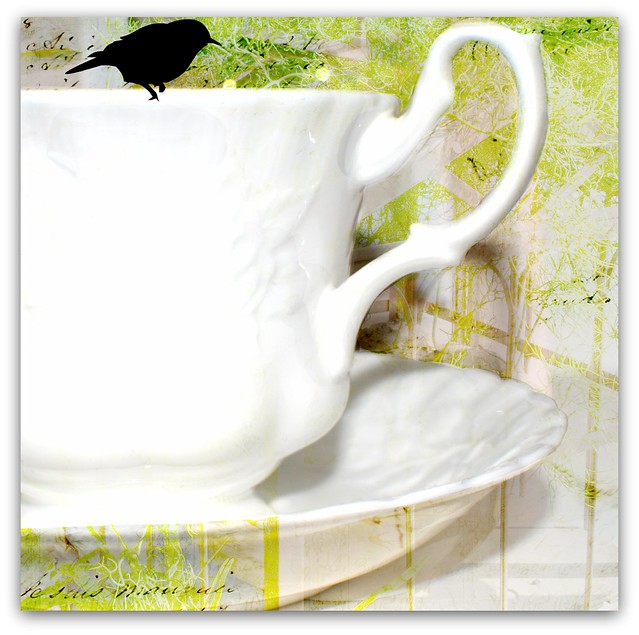 cup of tea green tower hill background