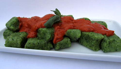 Homemade Basil Gnocchi with roast tomato sauce