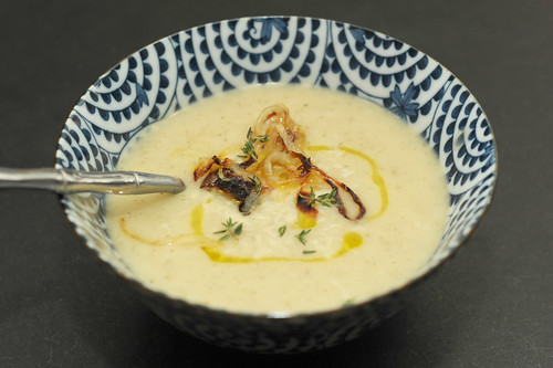 sunchoke soup with a drizzle of olive oil