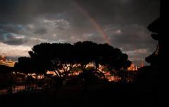 Rainbows in Rome (Robert Barone) Tags: micro43 panasonicgm1 piazzavenezia roma rome clouds commute rain storm italy italia foriimperiali rainbow