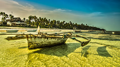 welcome in paradise (bocero1977) Tags: africa sand landscape trip purism nature reflection dhow seascape outdoor clouds lowtide simplicity light zanzibar trees blue beach ocean beautiful travel summer boat fineart sky green colors water sea fisherman