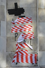 Strand (RCJ) 3oct16 (richardbw9) Tags: london uk england westminster strand royalcourtsofjustice graffiti tape tapedover maskingtape protest city street urban londonstreetphotography protes blacktape ducttape redandwhite gothic revival building